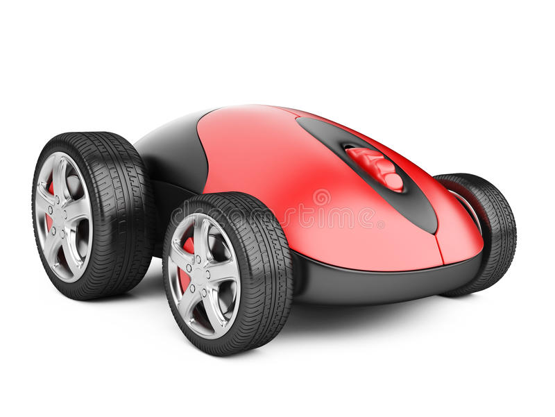 Computer mouse with wheels. 3d image on a white stock illustration
