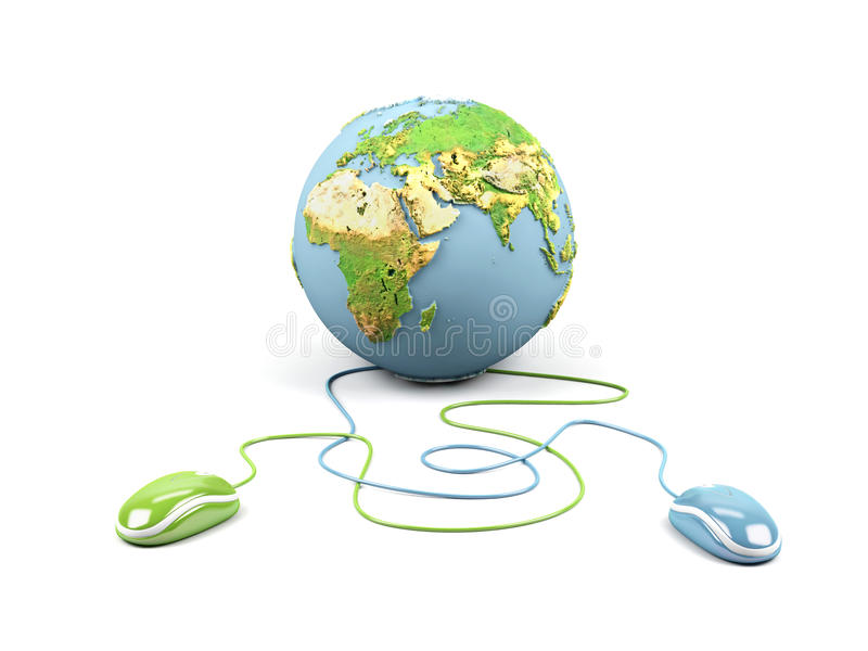 Computer mouses connected to a globe. vector illustration