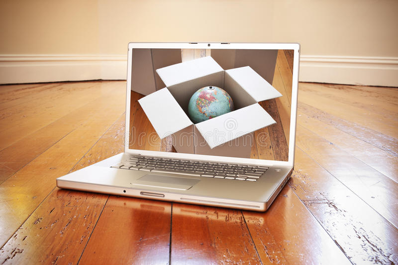 Computer Moving Box. A laptop computer on the floor of an empty room with a moving box and globe on the screen
