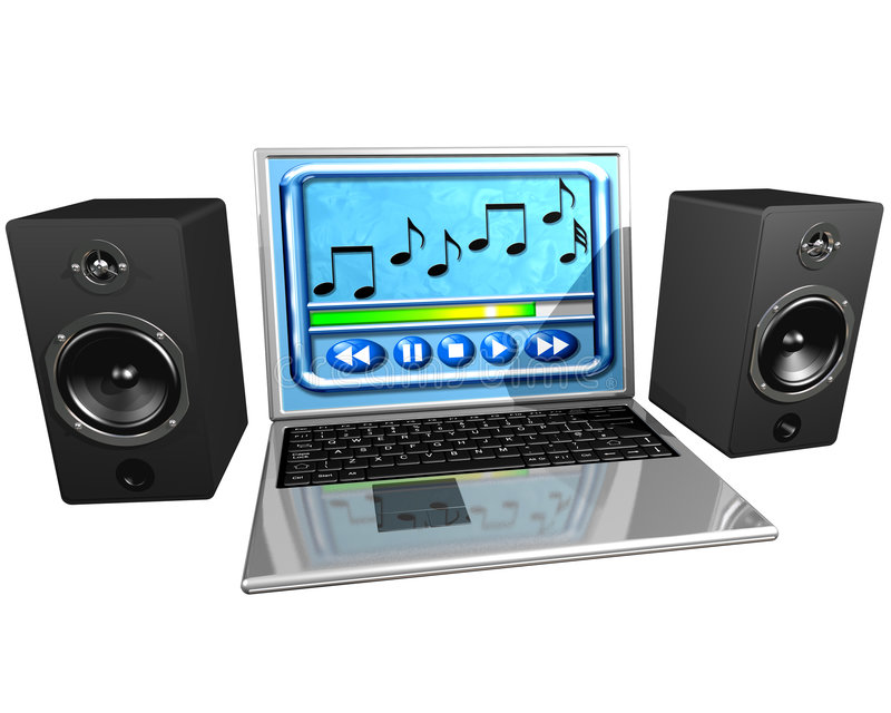Computer music. Isolated illustration of a laptop computer and speakers playing music stock illustration