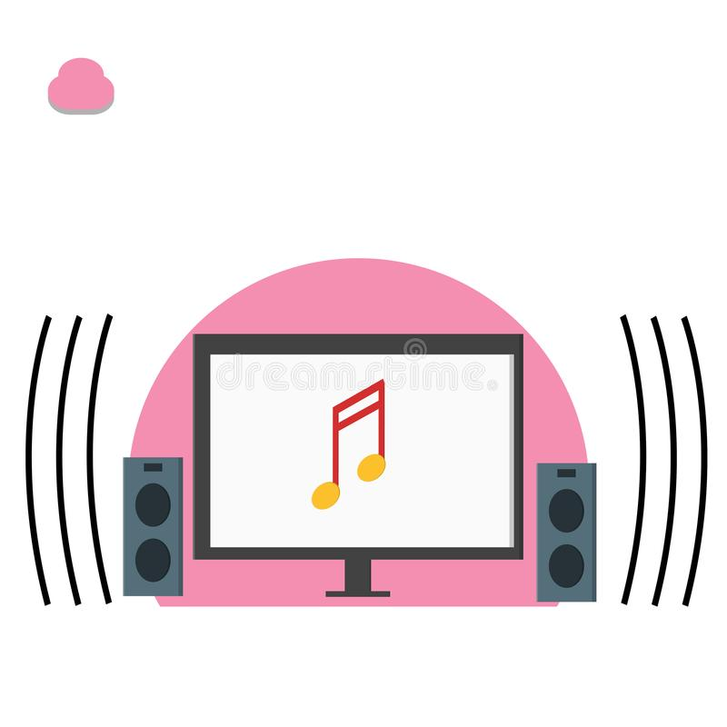 Computer and music note, playing music illustration - vector. Just for fun and relaxing royalty free illustration