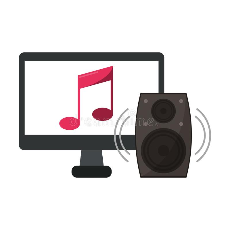 Computer with music and speaker stock illustration