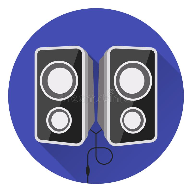 Free Computer Music Speakers. On Blue Background, Flat Style, With Glare And Shadow. Stock Photo - 115637920