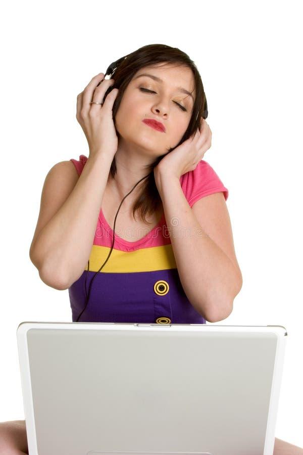 Computer-Musik-Mädchen stockfotografie