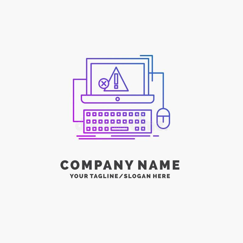 Computer, neerstorting, fout, mislukking, systeem Purpere Zaken Logo Template Plaats voor Tagline vector illustratie