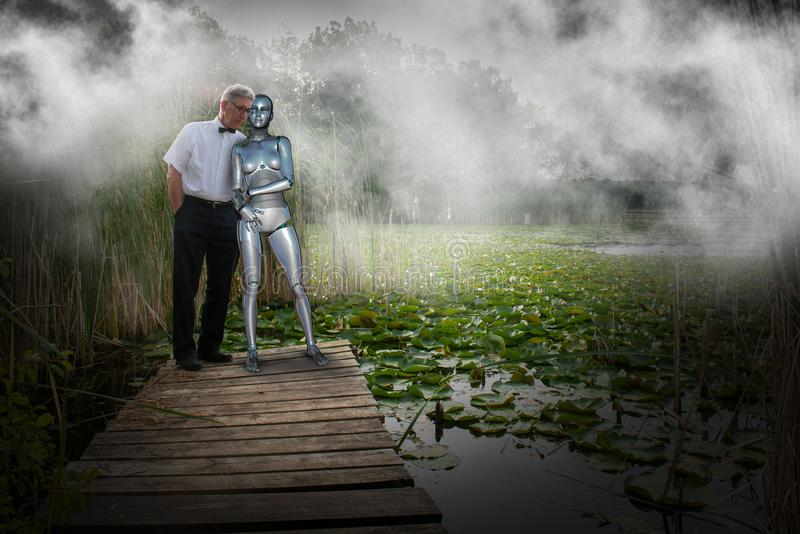 Robot Love, Couple, Romance, Nerd stock photos