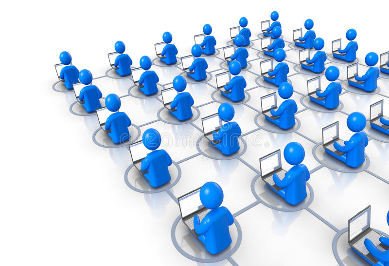 Computer Network. People with laptops are connected by abstract network