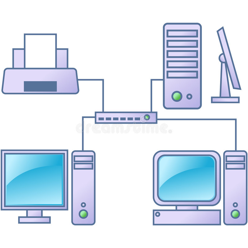 Computer network. Computers, printer and server vector illustration