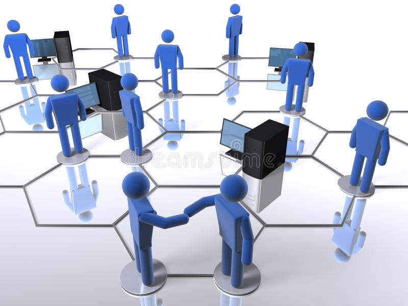 Computer network. Business network with computers and 3D figures vector illustration