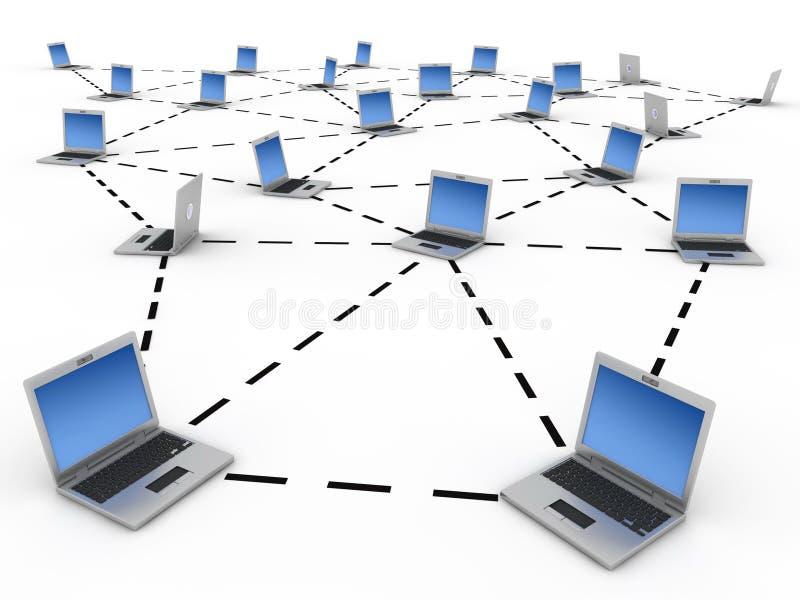 Computer network. Linked laptops and network scheme. Computer render vector illustration