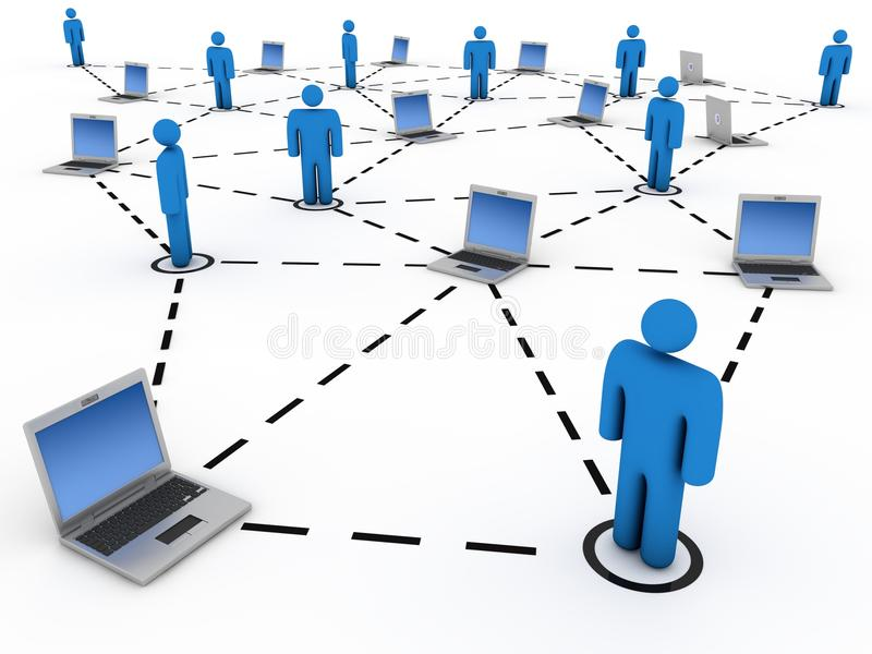 Computer network. People and laptops connected. Computer render stock illustration