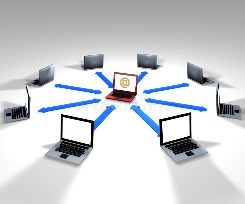 Computer network. Concept comunication, 3D render of computer network stock illustration