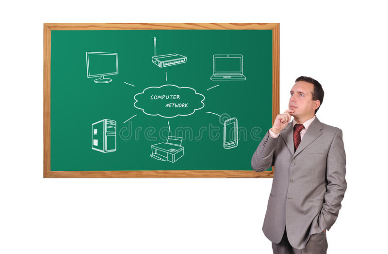 Download Computer Network On Blackboard Stock Photo - Image: 27918048