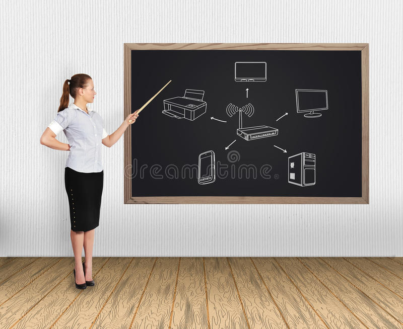 Download Computer Network On Blackboard Stock Photo - Image: 32212216