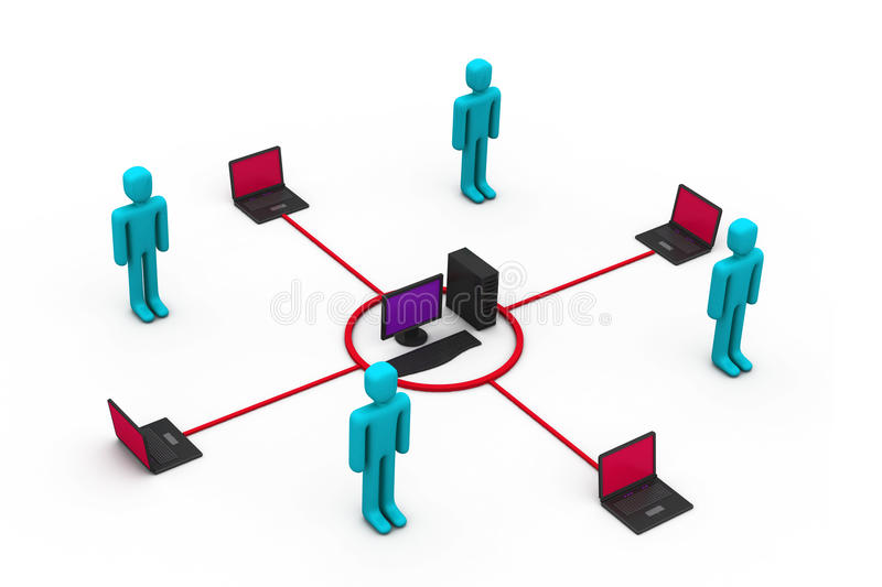 Computer network communicating vector illustration