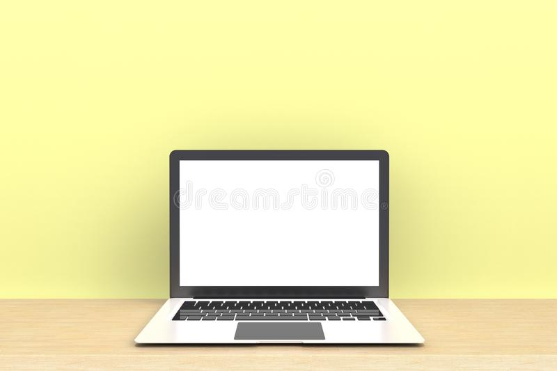 Computer Network Connection Digital Technology, Laptop computer white blank screen on wood work table front view royalty free stock photos