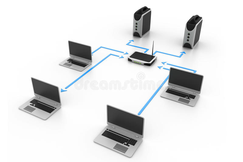 Computer network. 3d illustration of Computer network royalty free illustration
