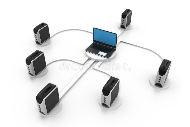 Computer network. 3d illustration of Computer network royalty free illustration