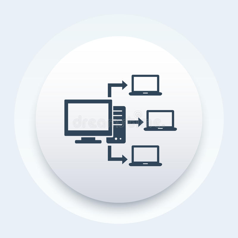Computer network, database server icon. Eps 10 file, easy to edit royalty free illustration