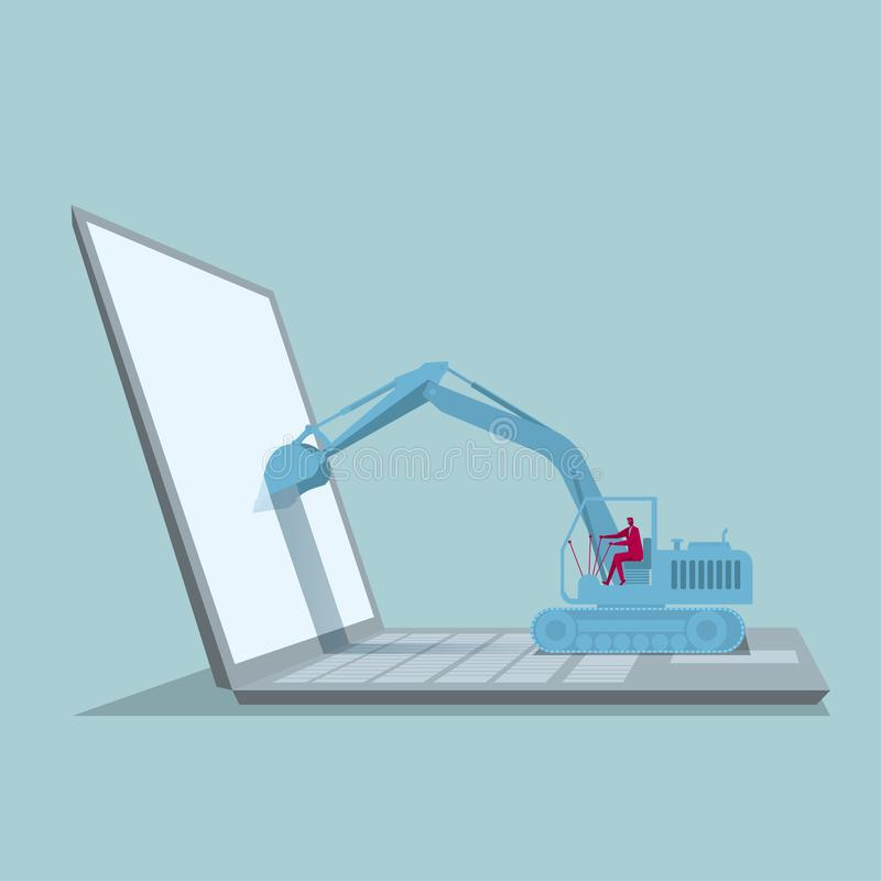 Computer network design. A combination of excavators and computers. The background is blue vector illustration