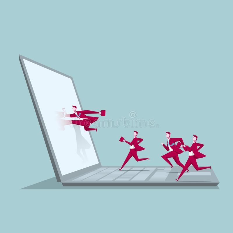 Computer network design. A group of businessmen ran to the computer. vector illustration