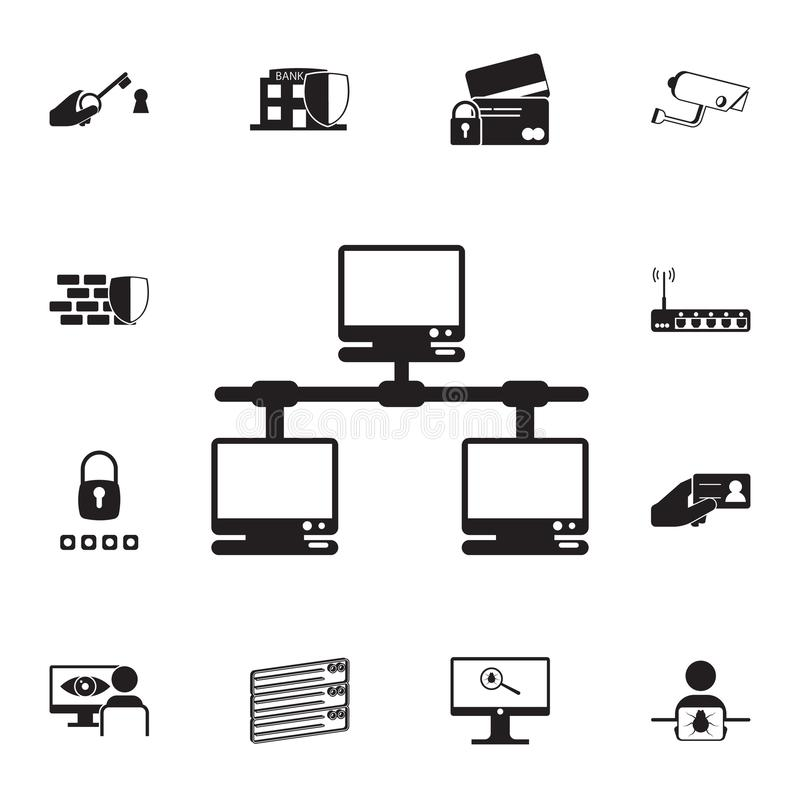 Computer network icon. Detailed set of cyber security icons. Premium quality graphic design sign. One of the collection icons for. Websites, web design, mobile vector illustration