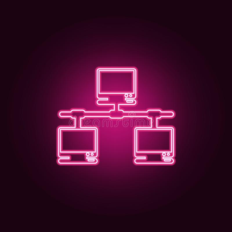 Computer network icon. Elements of cyber security in neon style icons. Simple icon for websites, web design, mobile app, info. Graphics on dark gradient vector illustration