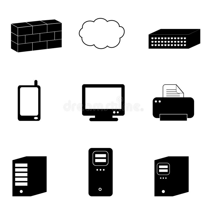 Computer and network icons stock illustration
