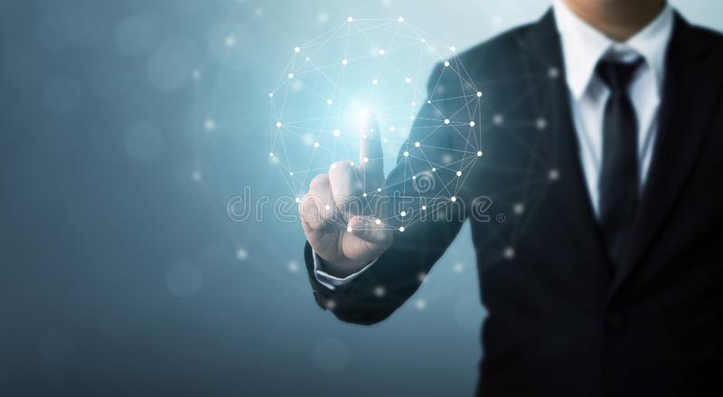 Computer network and internet connection concept, Businessman hand touching network sphere stock photography