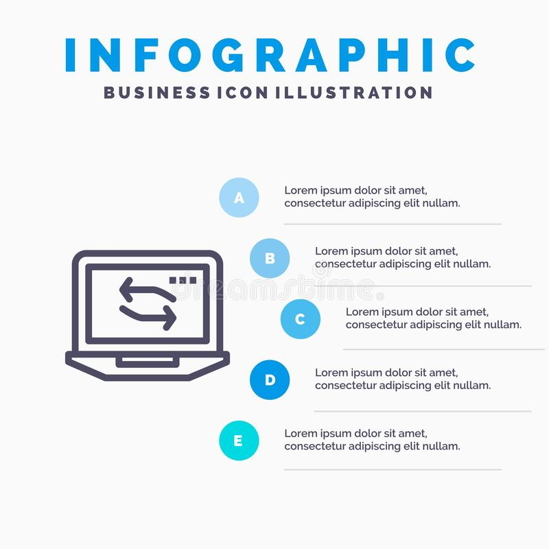Computer, Network, Laptop, Hardware Blue Infographics Template 5 Steps. Vector Line Icon template vector illustration