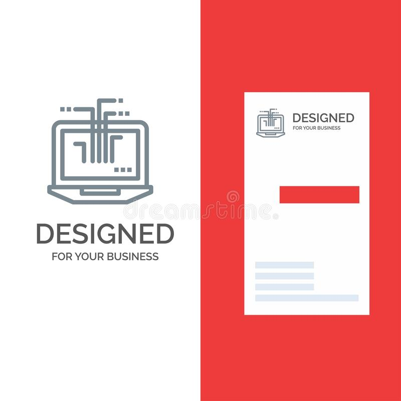 Computer, Network, Laptop, Hardware Grey Logo Design and Business Card Template royalty free illustration
