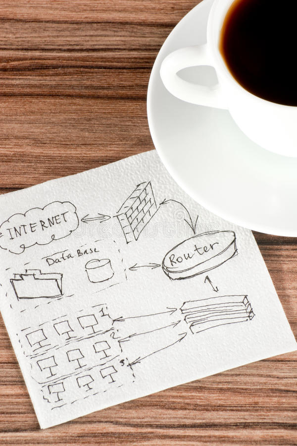 Computer network on a napkin stock image