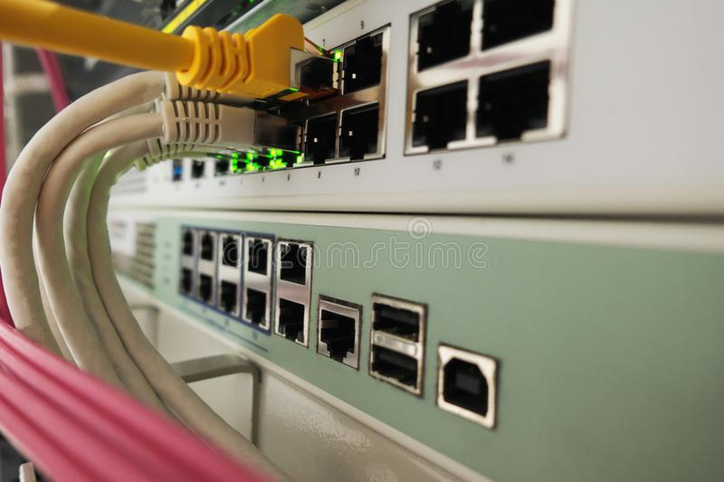 Computer network room. Computer network devices in a network room stock images