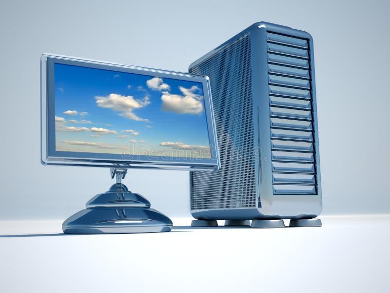 Computer network server. Flat computer lcd monitor and network server - 3d render vector illustration
