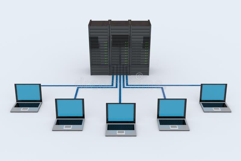 Computer Network with server. On white background. 3D reder image vector illustration