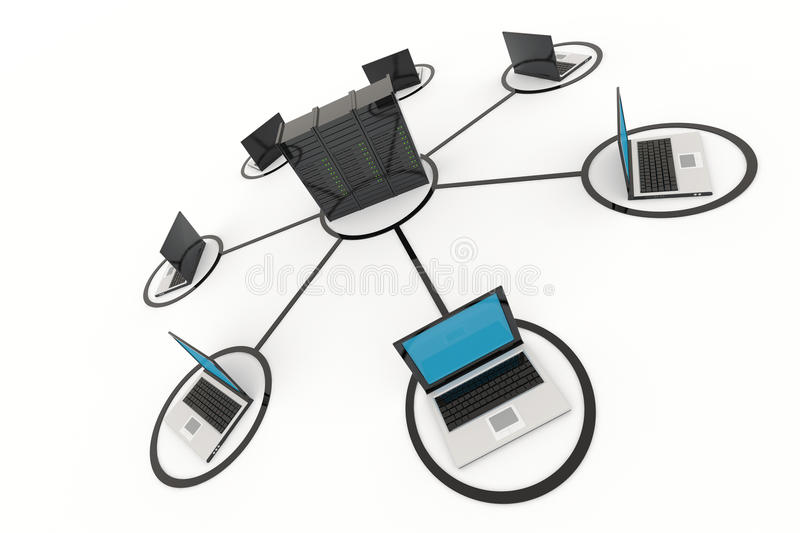Computer Network with server. On white background. 3D reder image royalty free illustration