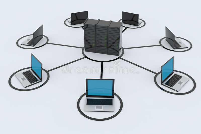 Computer Network with server. On white background. 3D reder image stock illustration