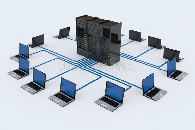Computer Network with server. On white background. Computer generated image royalty free illustration