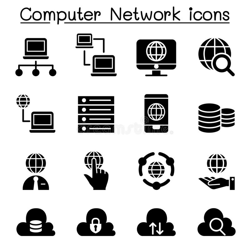 Computer network, Server, Hosting icons stock illustration