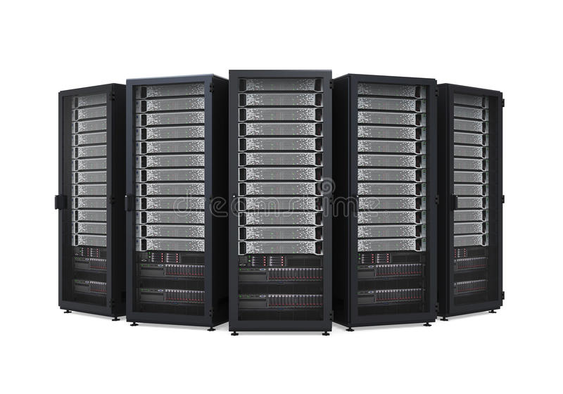 Computer Network Server Isolated. On white background. 3D render stock illustration