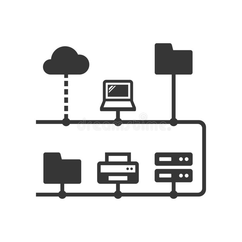 Computer Network Structure with Different Net devices. Vector. Illustration royalty free illustration
