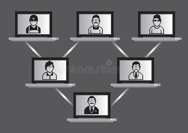 Computer Network and Virtual Meeting Technology Concept royalty free illustration