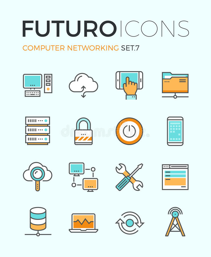 Computer networking futuro line icons. Line icons with flat design elements of computer network technology, cloud computing networking, server database