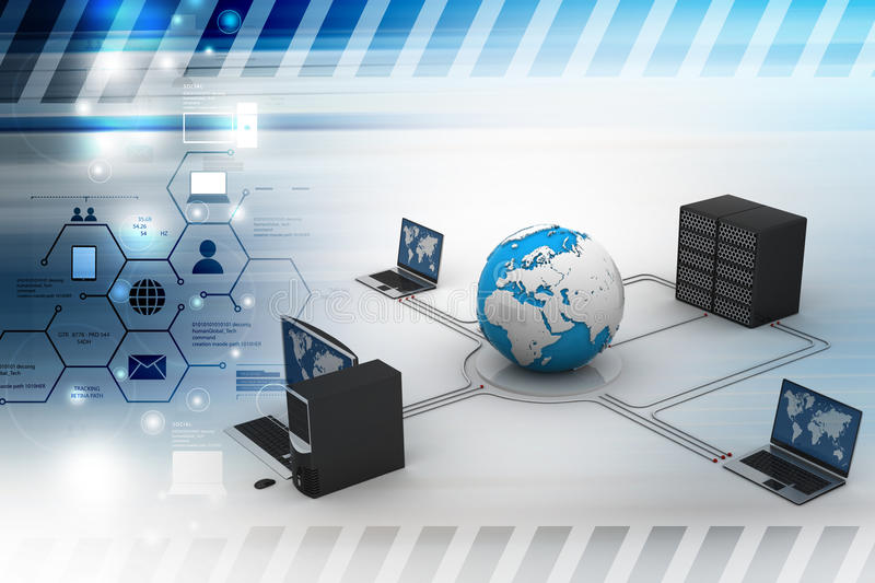 Computer networking with globe and server. In color background vector illustration