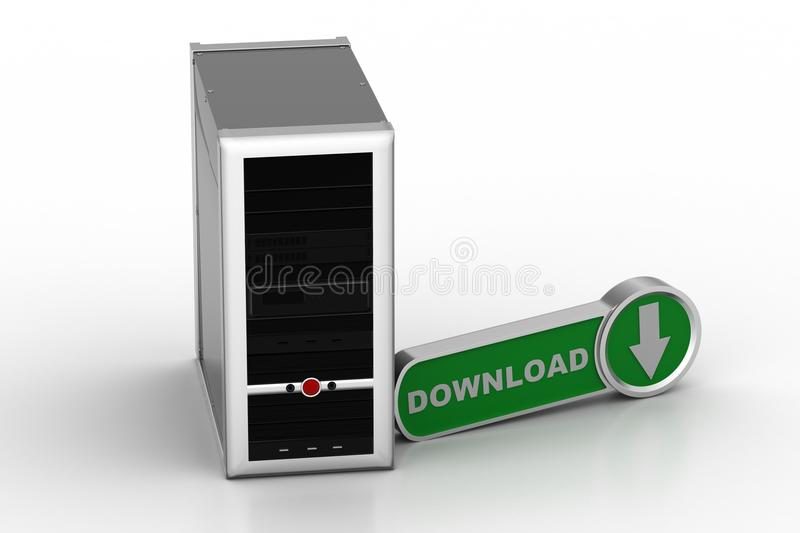 Computer networking server system with download icon. In white background vector illustration