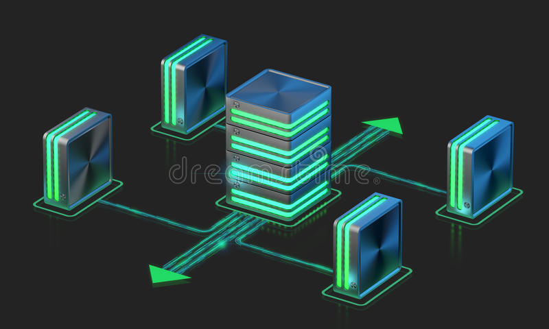 Computer networks. Main server scheme. Cloud computing technology stock illustration