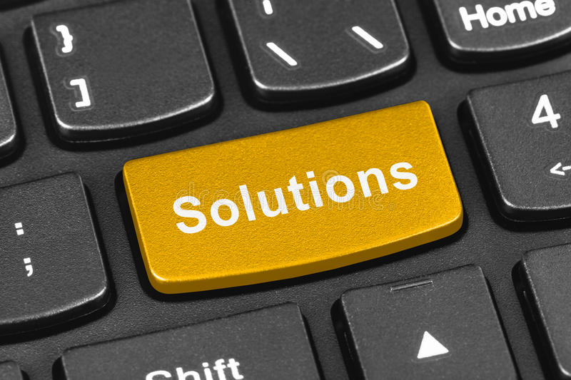 Computer notebook keyboard with Solutions key royalty free stock photos