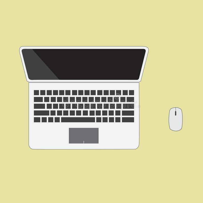 Computer notebook with mouse. On yellow background stock illustration