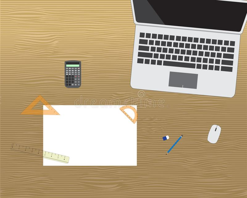 Computer notebook with paper, stationary and calculator. On wooden desk stock illustration