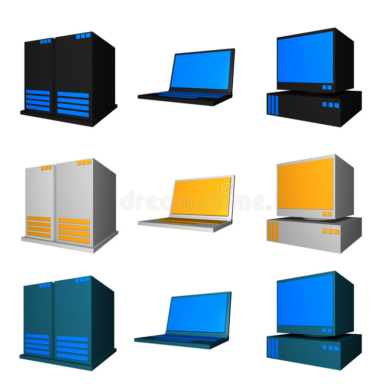 Computer, Notebook and Server. In different colors set royalty free illustration